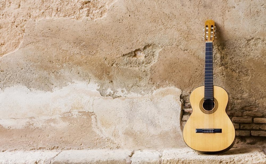 Guitar against wall
